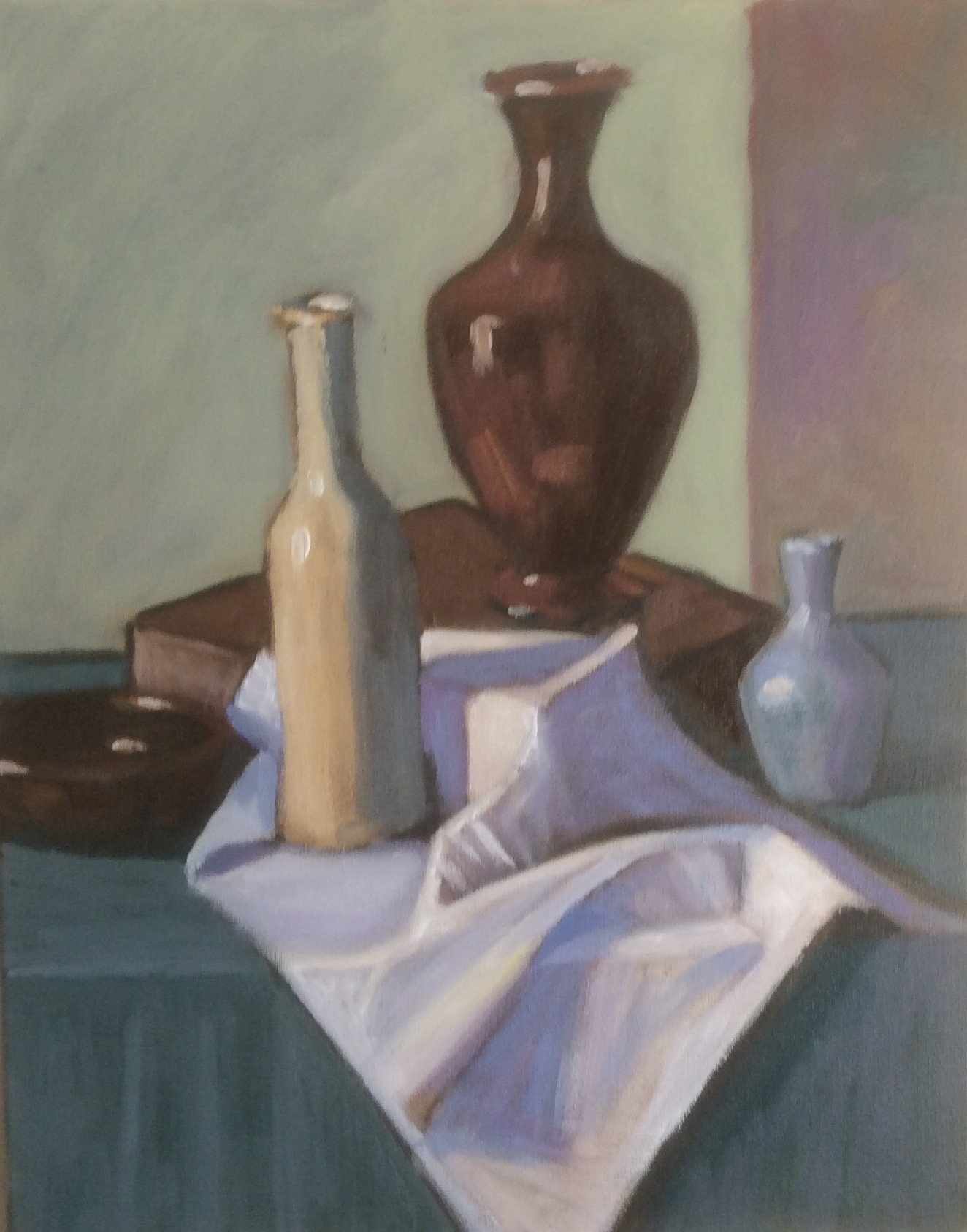 Still life with vase and bottle