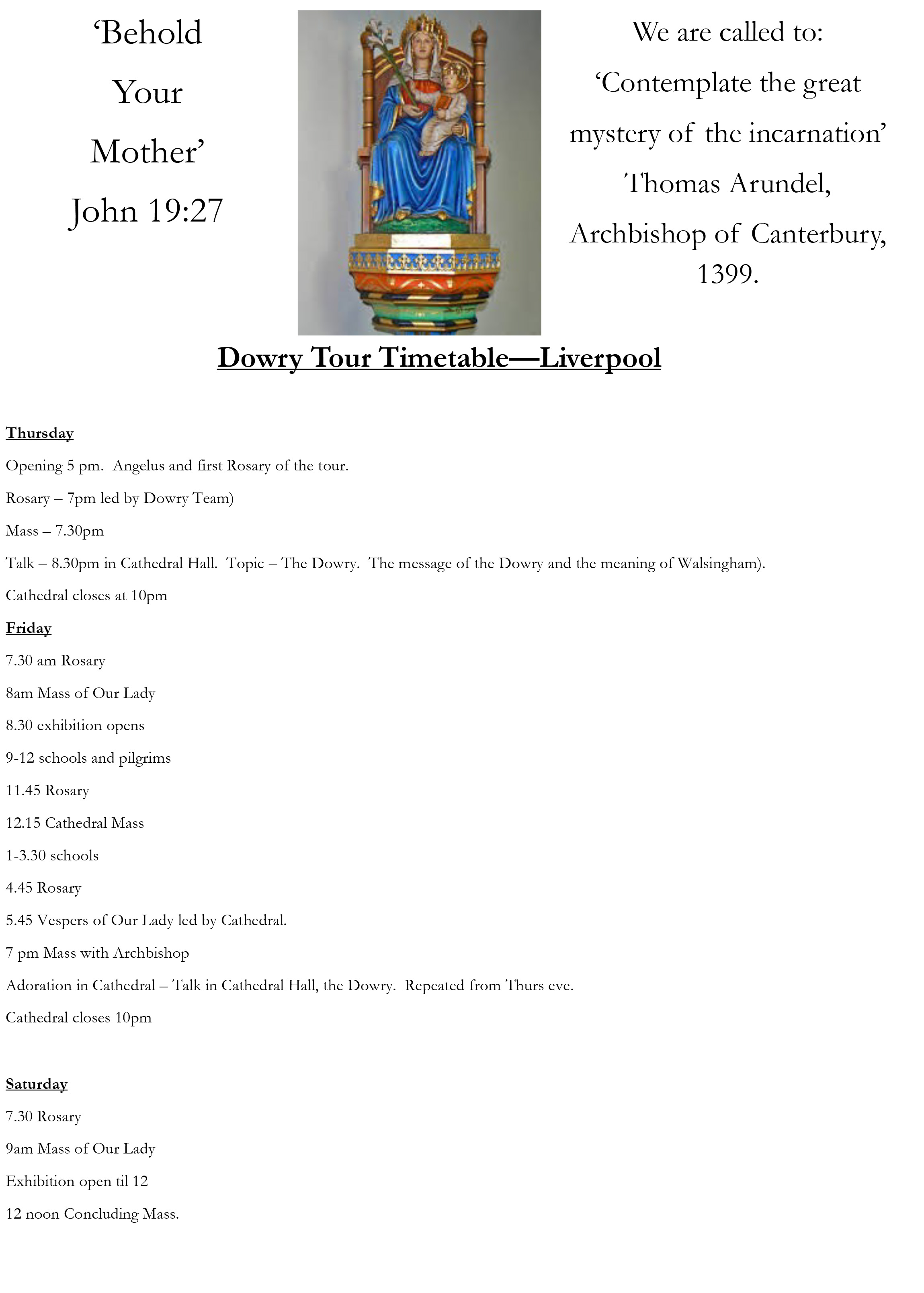 Dowry Tour Liverpool Timetable