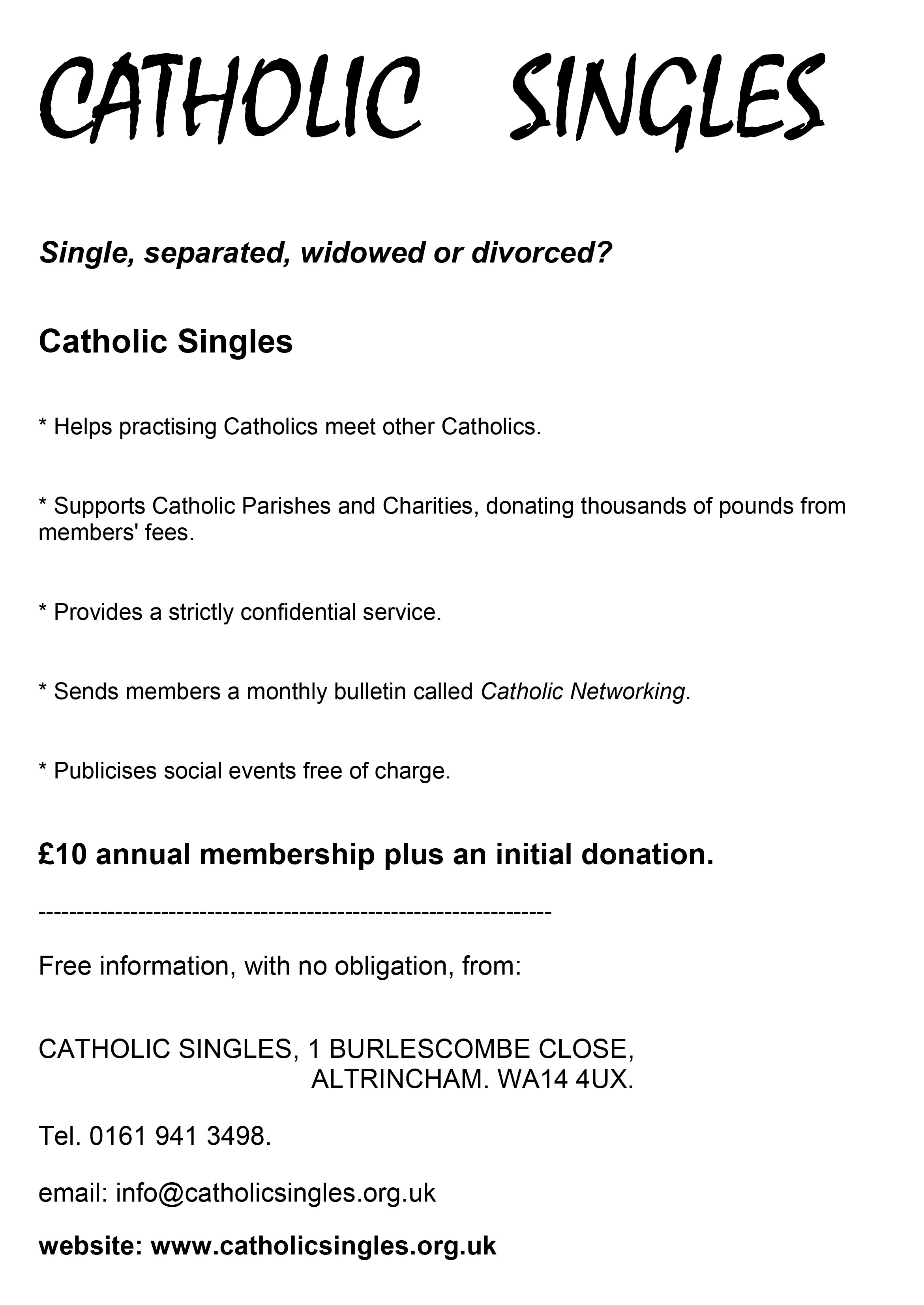 catholic singles events
